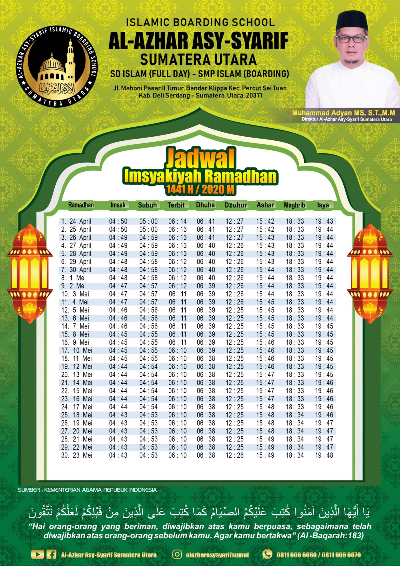 Jadwal Imsyakiyah 1441 H-2020 M Medan dan sekitarnya al-azhar asy-syarif sumatera utara